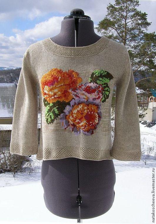 """Кофты и свитера ручной работы. Ярмарка Мастеров - ручная работа. Купить """"Винтаж"""" льняная блуза с розами. Handmade. Бежевый, туника"""