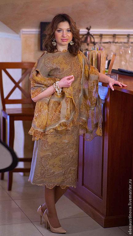 """Платья ручной работы. Ярмарка Мастеров - ручная работа. Купить Платье валяное """"Gold Ornaments"""". Handmade. Бежевый, платье валяное"""