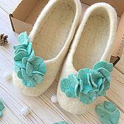 Обувь ручной работы handmade. Livemaster - original item felted Slippers Mint. Handmade.