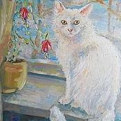 Картины и панно ручной работы. Ярмарка Мастеров - ручная работа Картина. Белая кошка Бусинка.. Handmade.