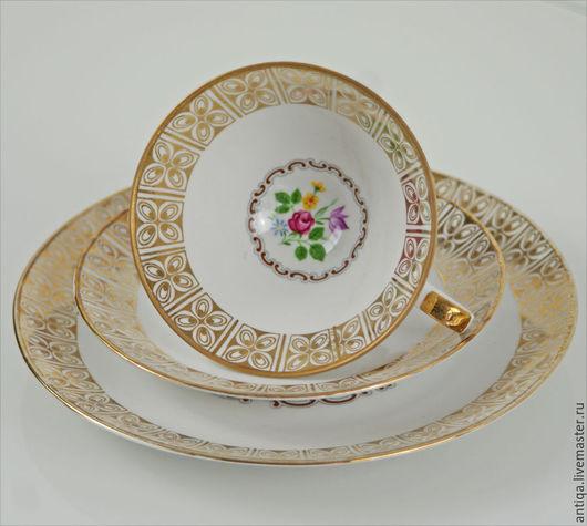 Винтажная посуда. Ярмарка Мастеров - ручная работа. Купить Фарфоровое кофейное (чайное) трио немецкой марки Winterling. Handmade. Белый