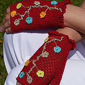 Аксессуары handmade. Livemaster - original item Hard bright red fingerless gloves with flowers. Gift on March 8. Handmade.