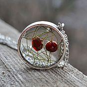 Украшения handmade. Livemaster - original item Transparent round large pendant with real red berries. Handmade.