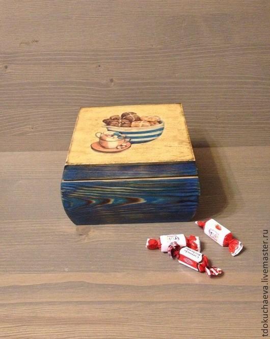 """Персональные подарки ручной работы. Ярмарка Мастеров - ручная работа. Купить Шатулка """"Сластена"""". Handmade. Синий, шкатулка ручной работы"""