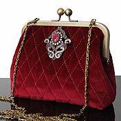 Сумки и аксессуары handmade. Livemaster - original item Velvet bag, theater bag, cherry, vintage brooch. Handmade.