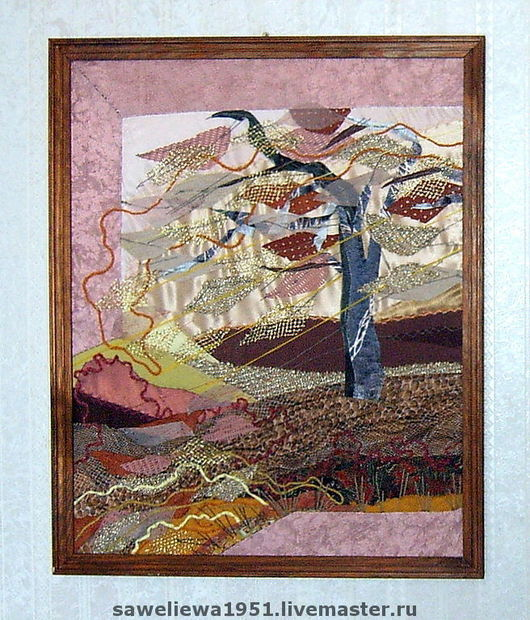 """Пейзаж ручной работы. Ярмарка Мастеров - ручная работа. Купить Диптих """"Осенний листопад"""". Handmade. Квилт, золотисто-коричневый, ветер"""
