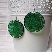 Украшения handmade. Livemaster - original item Transparent Resin Earrings emerald Green Pattern India Meditation. Handmade.