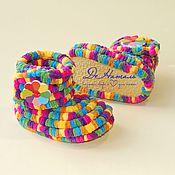 Работы для детей, handmade. Livemaster - original item Booties boots plush, knitted shoes, infant shoes, children. Handmade.