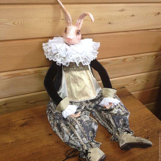 Коллекционные куклы ручной работы. Ярмарка Мастеров - ручная работа. Купить Белый кролик. Handmade. Бежевый, усатый, полимерная глина