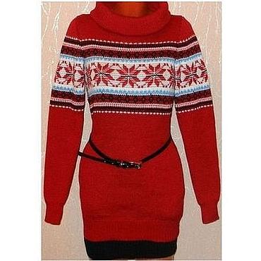 Одежда ручной работы. Ярмарка Мастеров - ручная работа Платье-свитер с норвежским узором вязаное(красное). Handmade.