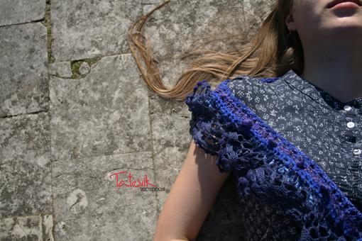 """Шарфы и шарфики ручной работы. Ярмарка Мастеров - ручная работа. Купить Бохо шарфик """"Ночное море"""". Handmade. Тёмно-синий"""