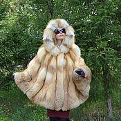 Одежда handmade. Livemaster - original item Poncho hooded fur Siberian red Fox.. Handmade.