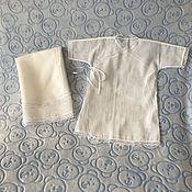 Работы для детей, ручной работы. Ярмарка Мастеров - ручная работа Крестильный набор (рубашка+пелёнка). В наличии остался 1 комплект.. Handmade.