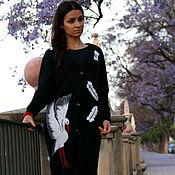 """Одежда ручной работы. Ярмарка Мастеров - ручная работа Чёрный,вязаный кардиган с объёмной вышивкой """" Белый аист """". Handmade."""