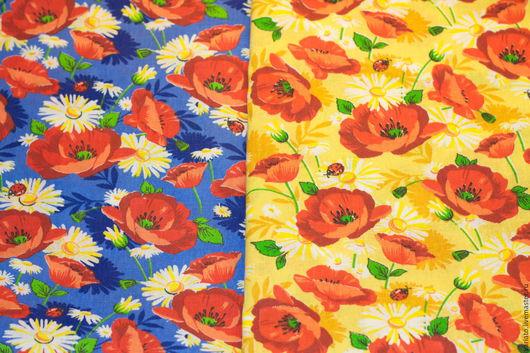 """Шитье ручной работы. Ярмарка Мастеров - ручная работа. Купить Хлопок """"Маки"""" бязь 2 цвета. Handmade. Ткань с цветами"""