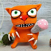 Куклы и игрушки handmade. Livemaster - original item Sausage is not enough at all! Red cat with sausage by Vasya Lozhkin. Handmade.