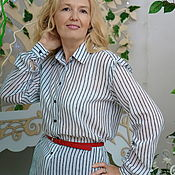 Одежда handmade. Livemaster - original item Shirt made of white Italian Batiste stripe shirt Marina. Handmade.