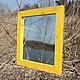 Зеркало настенное в жёлтой раме из дерева