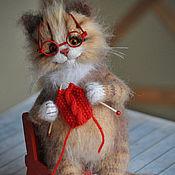 handmade. Livemaster - original item The cat KNITS a warm scarf. Handmade.