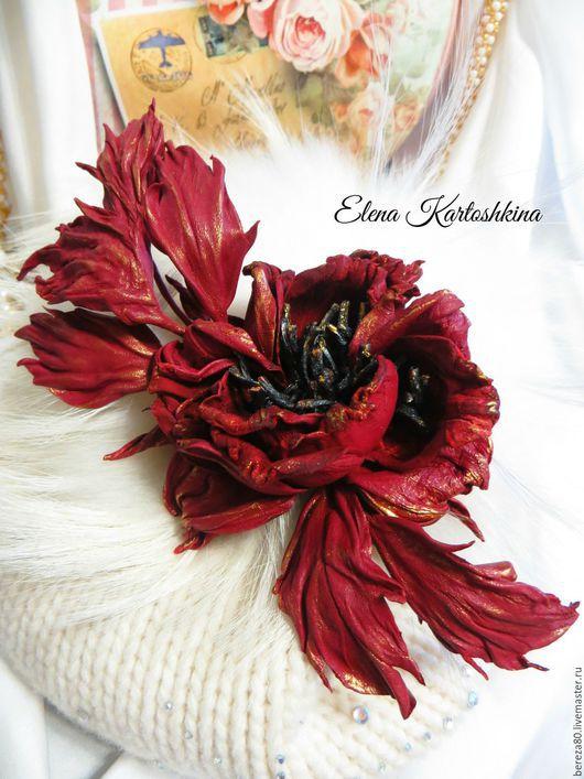 Броши ручной работы. Ярмарка Мастеров - ручная работа. Купить Брошь из кожи. Цветок красной розы. Роза из кожи.. Handmade.