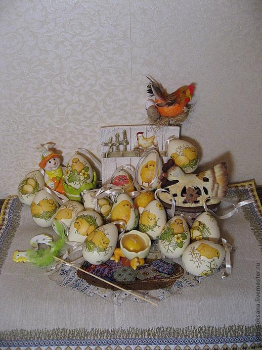 """Подарки на Пасху ручной работы. Ярмарка Мастеров - ручная работа. Купить Пасхальный яички """"Веселые цыплята"""". Handmade. Желтый, цыпленок"""