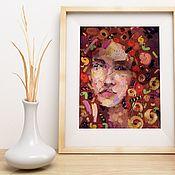 Картины и панно handmade. Livemaster - original item Abstract oil portrait of a woman (red gold). Handmade.