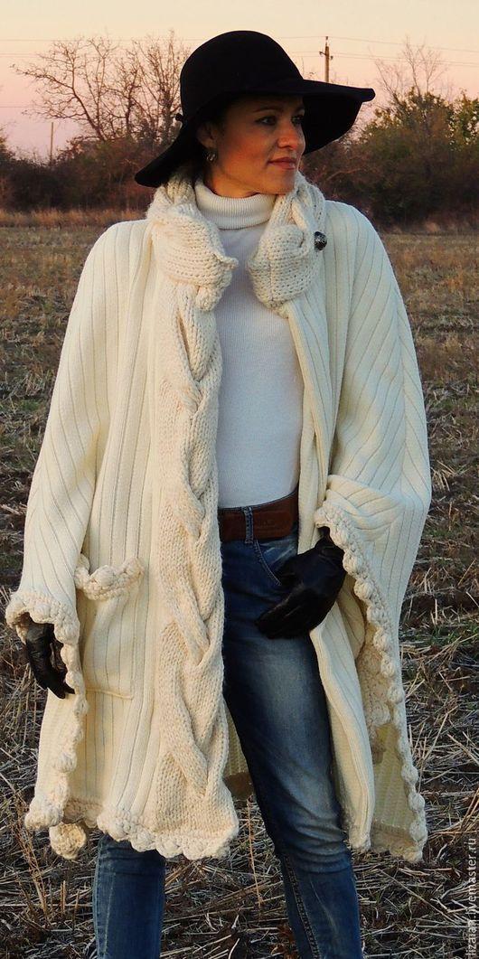 Пончо ручной работы. Ярмарка Мастеров - ручная работа. Купить Пончо (накидка, кейп,пальто) с вязаными элементами (№55). Handmade.