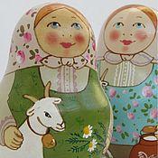 """Русский стиль ручной работы. Ярмарка Мастеров - ручная работа Неваляшка """"С козочкой и овечкой"""", неваляшки музыкальные. Handmade."""