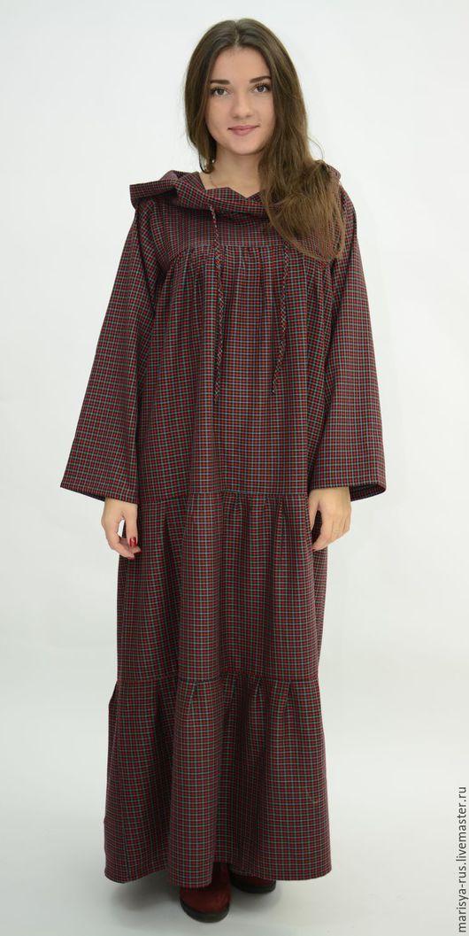 Платья ручной работы. Ярмарка Мастеров - ручная работа. Купить Теплое платье с капюшоном. Handmade. Бордовый, теплое платье