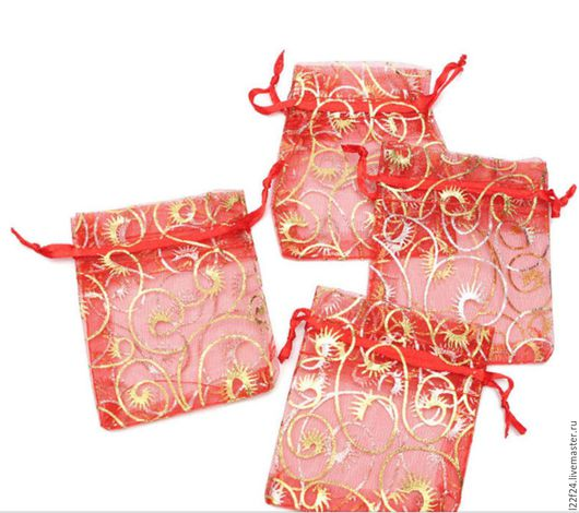 Упаковка ручной работы. Ярмарка Мастеров - ручная работа. Купить органза, мешочек  (только красный) 7: 9. Handmade.