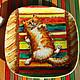 Тарелки ручной работы. Ярмарка Мастеров - ручная работа. Купить Котик на коврике. Handmade. Кот, котик, кошка, радуга, яркий
