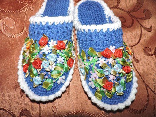 Обувь ручной работы. Ярмарка Мастеров - ручная работа. Купить Тапочки домашние вязаные крючком. Handmade. Синий цвет