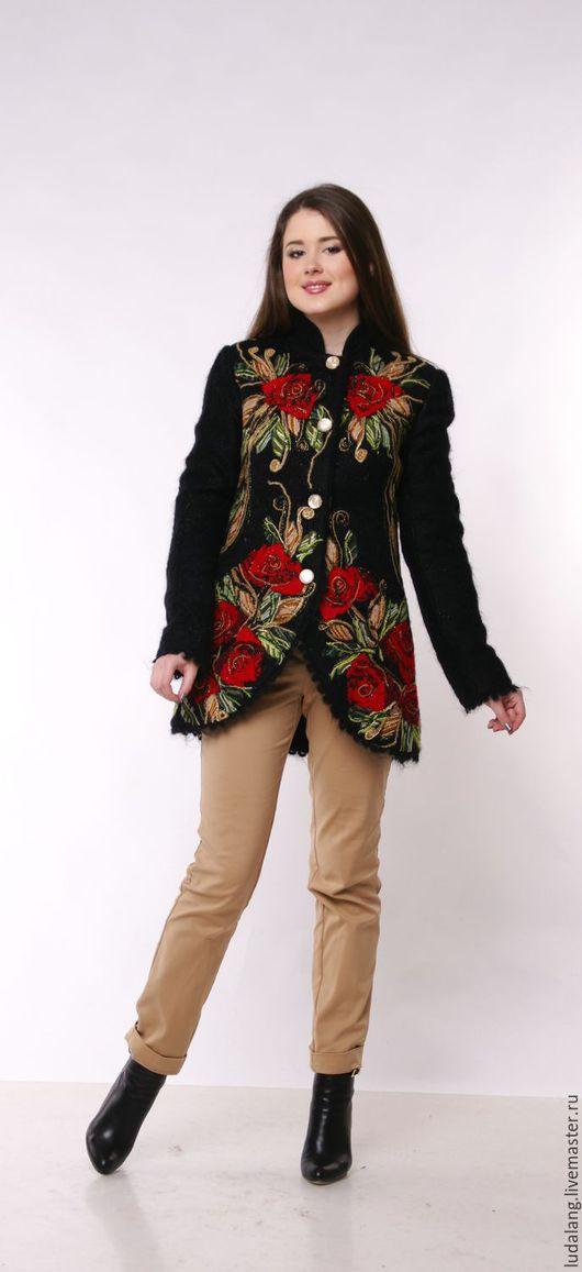 Верхняя одежда ручной работы. Ярмарка Мастеров - ручная работа. Купить Куртка женская  Дебют (Русский фасон). Handmade. Черный