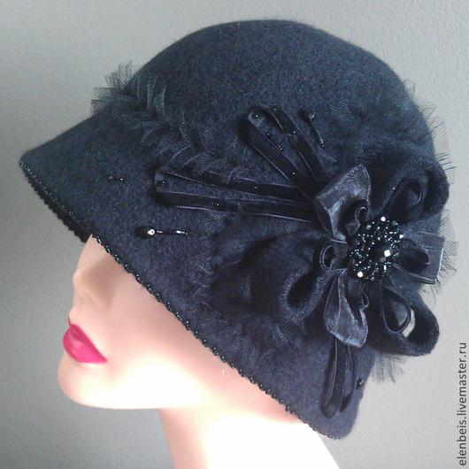 """Шляпы ручной работы. Ярмарка Мастеров - ручная работа. Купить Шляпа """"Рюшка"""". Handmade. Черный, шляпа ручной работы"""