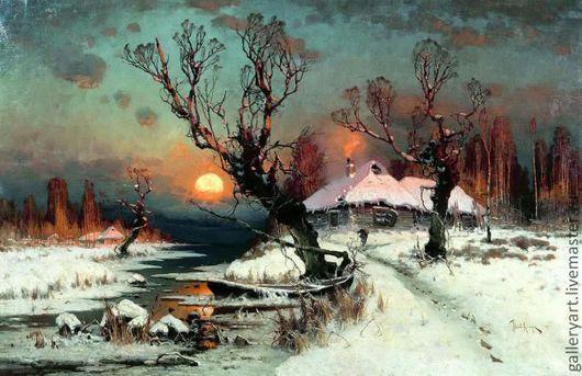 """Пейзаж ручной работы. Ярмарка Мастеров - ручная работа. Купить Картина """"Пейзаж. Зима. Закат"""". Handmade. Тёмно-бирюзовый, красота"""