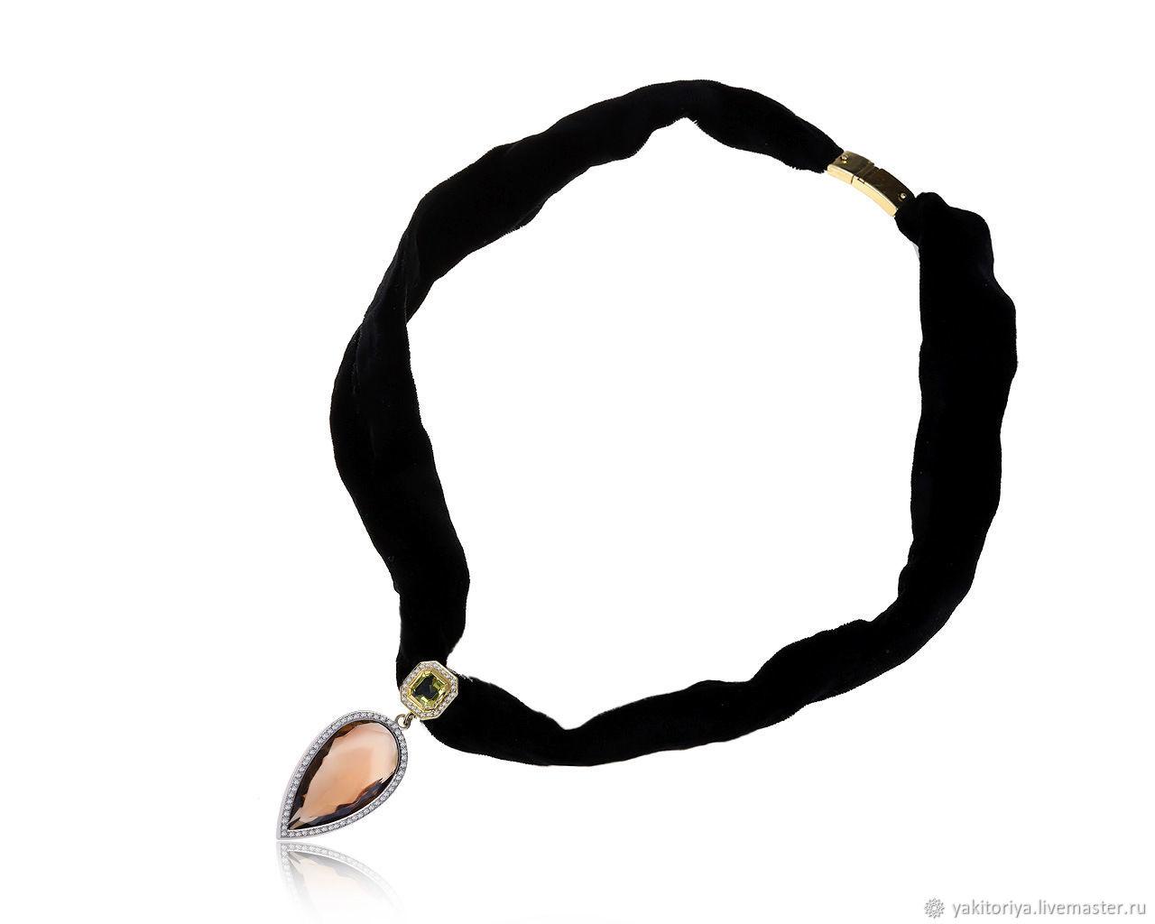 Black velvet necklace with rauchtopaz 59ct German Kabirski, Necklace, Moscow,  Фото №1