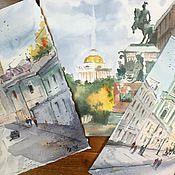 """Картины и панно ручной работы. Ярмарка Мастеров - ручная работа """"Городской пейзаж"""", акварель. Handmade."""
