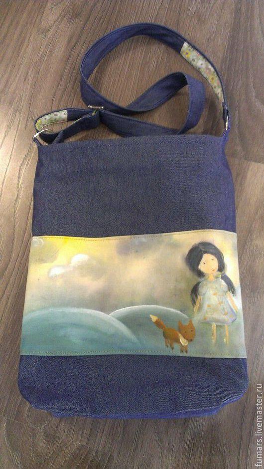 Женские сумки ручной работы. Ярмарка Мастеров - ручная работа. Купить Сумка джинсовая с рисунком на ткани. Handmade. Комбинированный