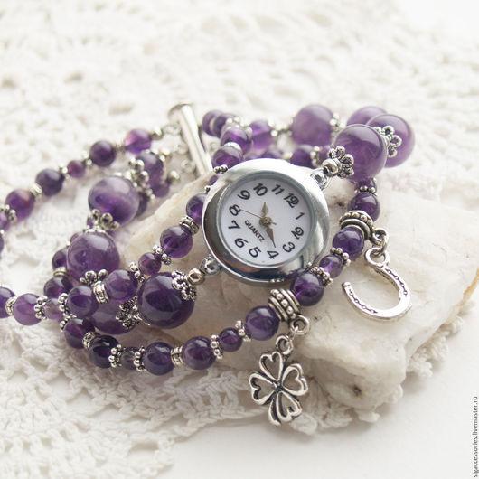 """Часы ручной работы. Ярмарка Мастеров - ручная работа. Купить """"Счастливый клевер"""" - часы-талисман (аметист). Handmade. Фиолетовый"""