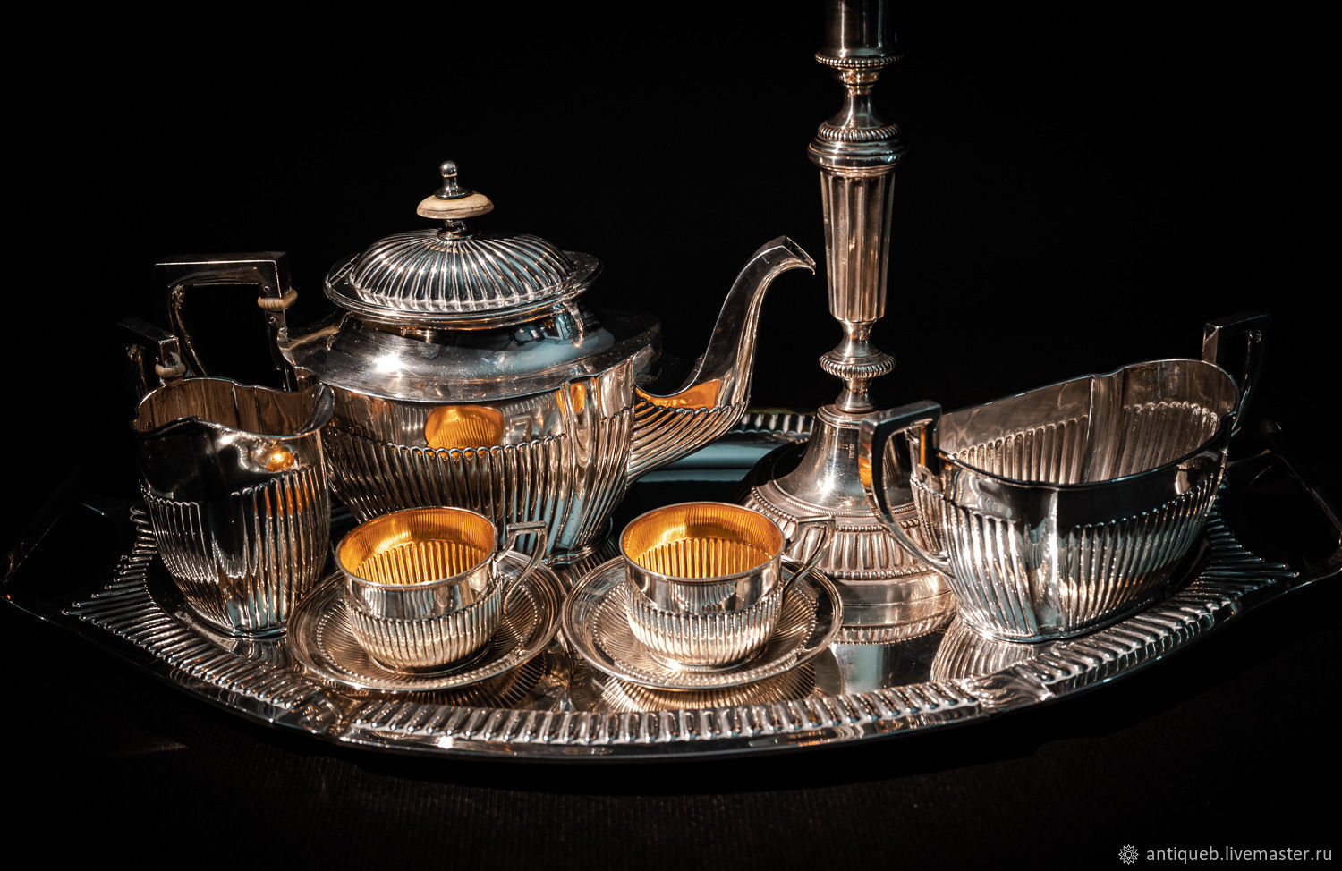 Services: Large SILVER tea set on a tray, Tea & Coffee Sets, Moscow,  Фото №1