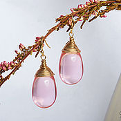Украшения handmade. Livemaster - original item Large pink drop earrings in 24K gold. Handmade.