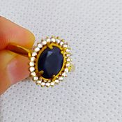 Украшения handmade. Livemaster - original item 585 gold ring with natural sapphire and diamonds. Handmade.