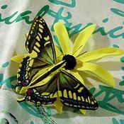 Украшения ручной работы. Ярмарка Мастеров - ручная работа Бабочка на хризантеме. Handmade.