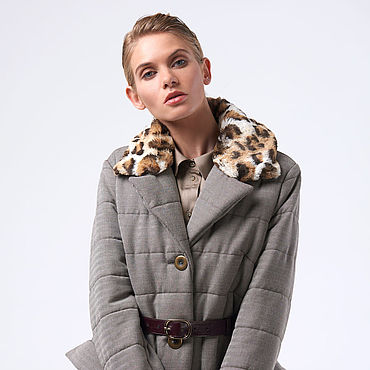 Одежда ручной работы. Ярмарка Мастеров - ручная работа Пальто стеганое бежевое с узором в ёлочку. Handmade.