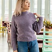 Одежда manualidades. Livemaster - hecho a mano Women`s crop sweater with asymmetrical sleeves. Handmade.