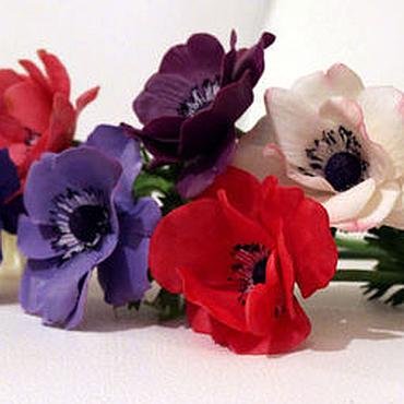 Цветы и флористика ручной работы. Ярмарка Мастеров - ручная работа Анемоны.Букет цветов  анемонов белых,красных,сиреневых.Полимерная глин. Handmade.