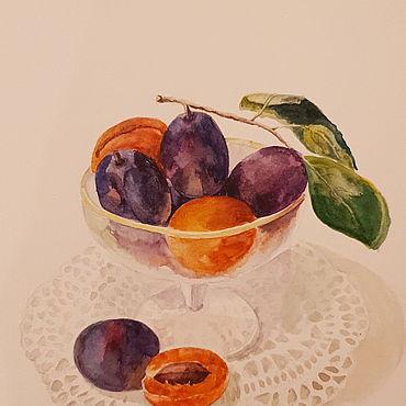 Картины и панно ручной работы. Ярмарка Мастеров - ручная работа Картины: Вазочка с абрикосами и сливами. Handmade.
