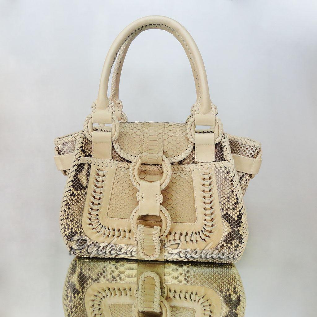 Bag made of Python. An unusual bag made from Python. Pimonova women's bag with netting. Fashion bag decoration, handmade. Stylish bag made from Python with long handles. Women's bag with netting.