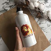 Бутылки ручной работы. Ярмарка Мастеров - ручная работа Металлическая бутылка на заказ с именем и рисунком. Handmade.