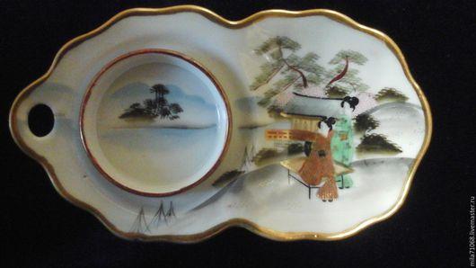Винтажная посуда. Ярмарка Мастеров - ручная работа. Купить Японская фарфоровая подставка под чашку гейши KUTANI. Handmade. Белый